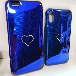 NEW iPhone 6+/6S+/X/XS Blue Heart Case